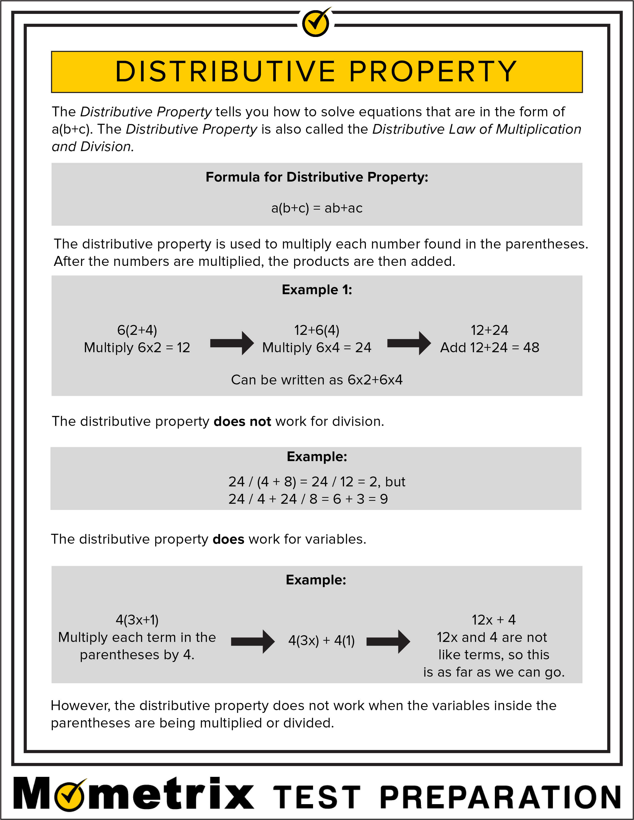Distributive Property Fact Sheet