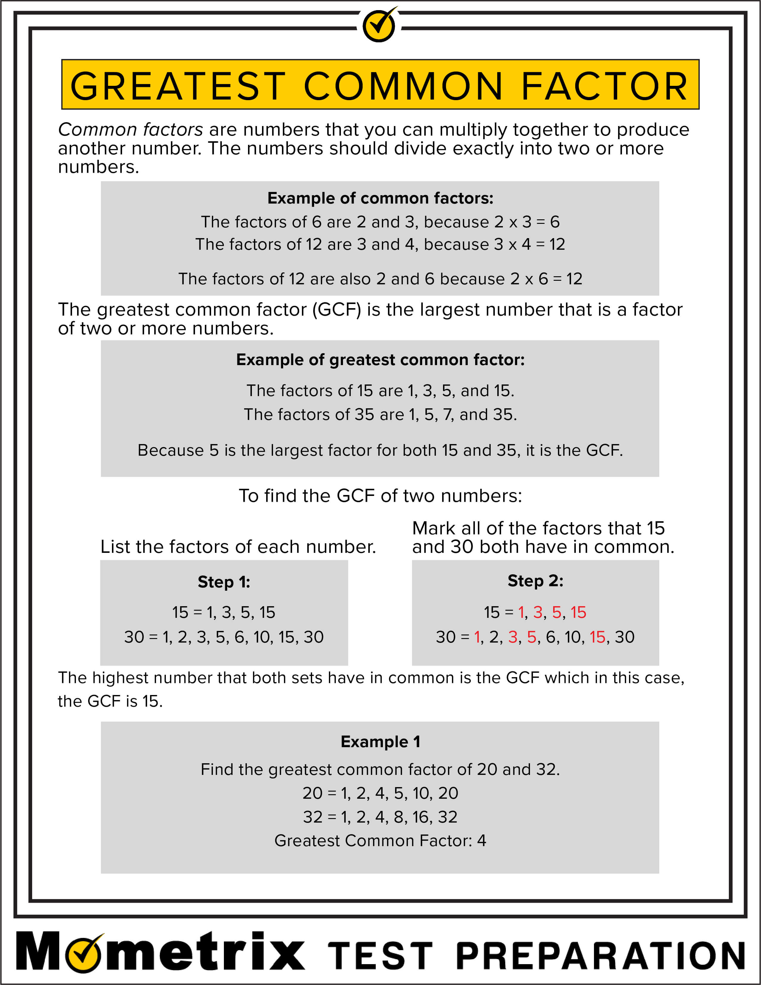 Greatest Common Factor Fact Sheet