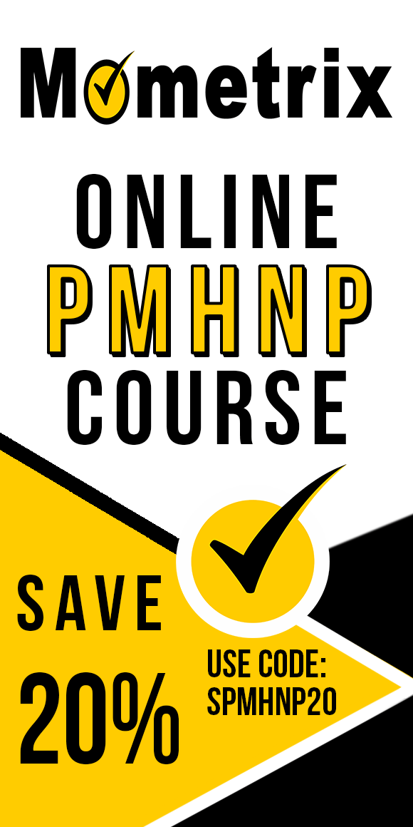 Advertisement for 20% off on the Mometrix University online PMHNP course. Use code SPMHNP20