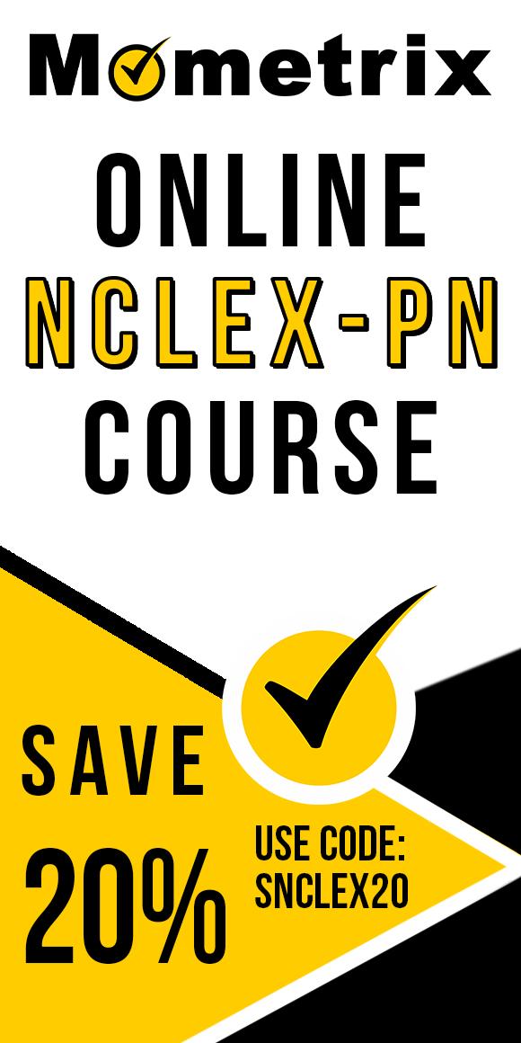 Save 20% on Mometrix NCLEX-PN online course. Use code: SNCLEX20.