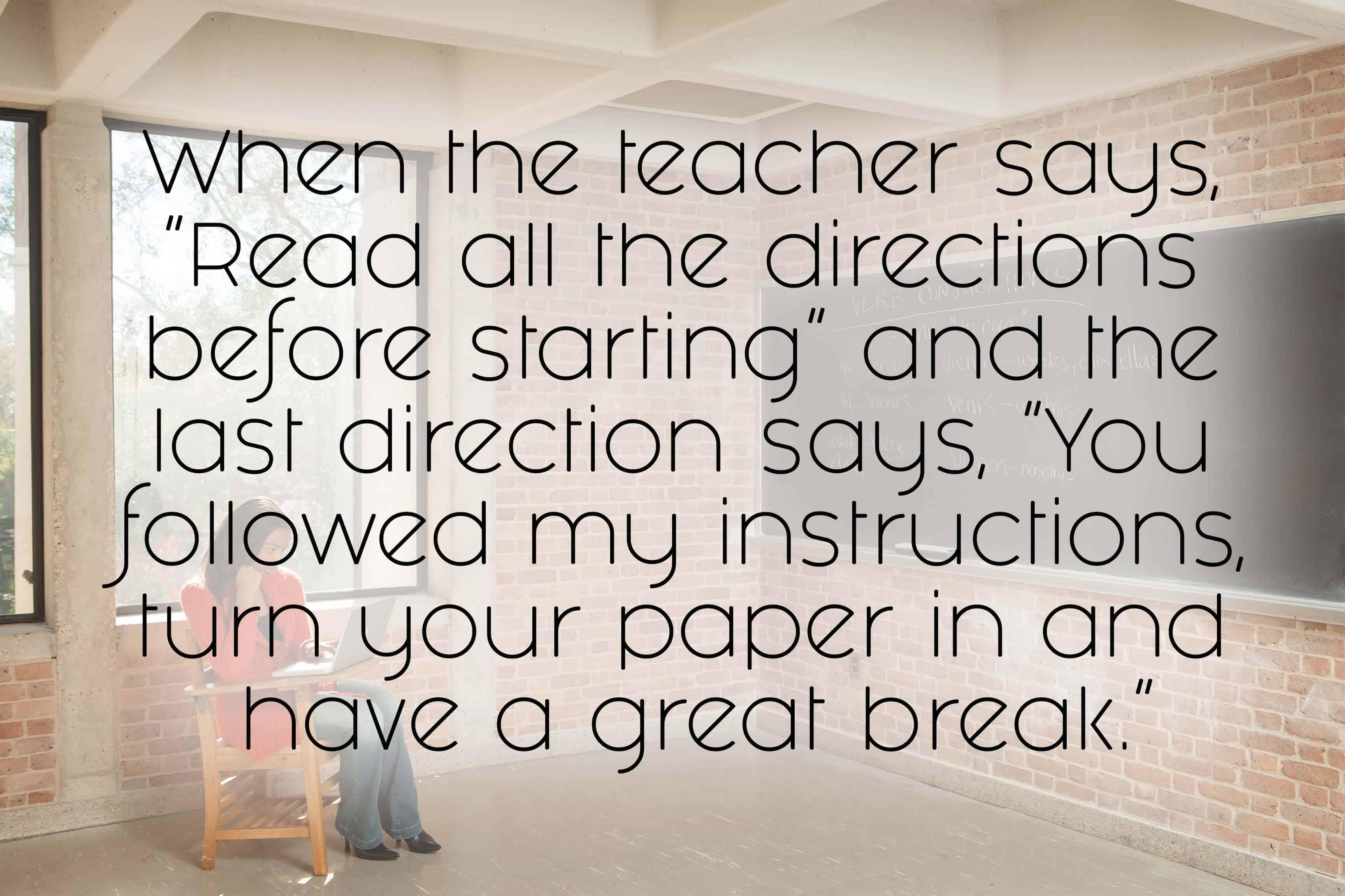 12. When the teacher says